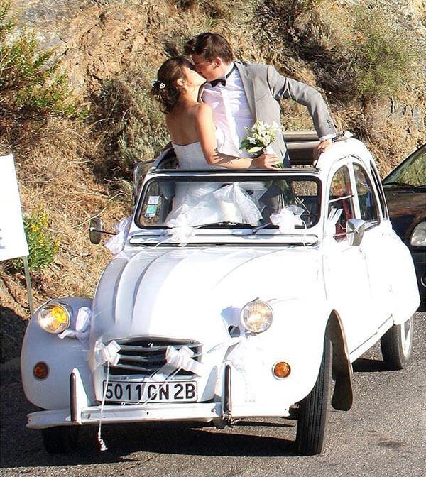 2 Cv blanche louée pour un mariage